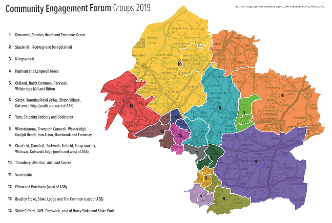 Community Engagement Forums in South Gloucestershire map (2020)
