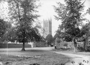 Historical black and white photo of Yate Heritage Centre and St Mary's Church