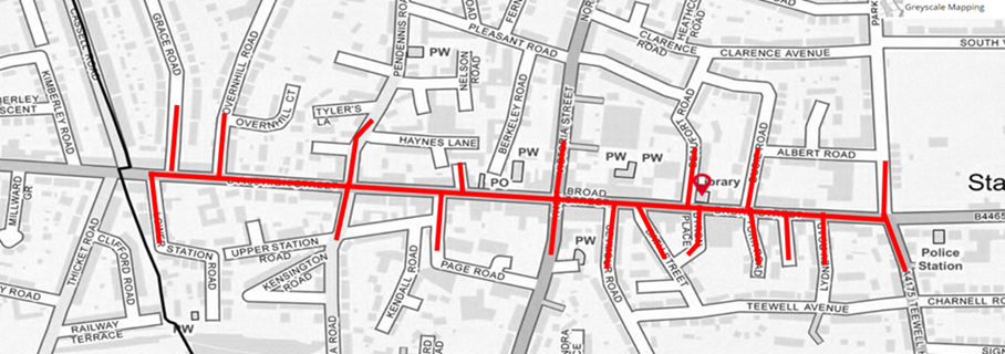 Map showing area of Public Spaces Protection Order for Staple Hill High Street from 11 June 2021