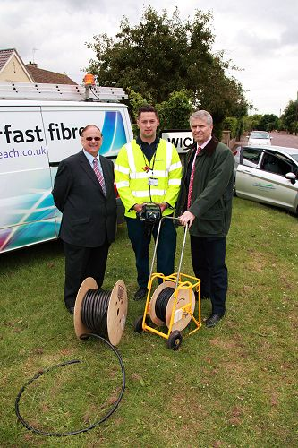 Pictured L-R: Cllr John Goddard - Chair of South Gloucestershire Council's Resources Sub-Committee, Jack Crew - Openreach Customer Services Engineer Apprentice, Bill Murphy - Managing Director Next Generation Networks for BT Group