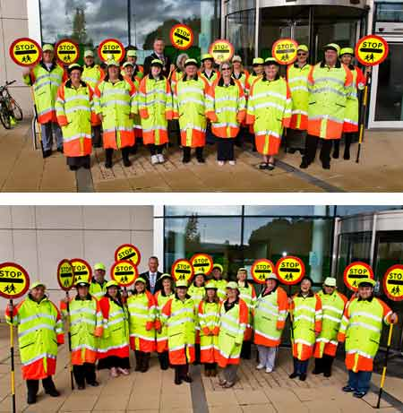 Chairman of South Gloucestershire Council, Cllr Ian Boulton, presenting our school crossing patrol staff with a certificate to mark 60 years of school crossing patrols.