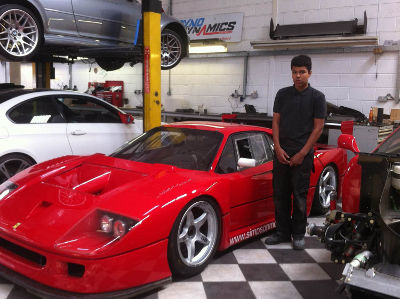 James Crook with a Ferrari F40