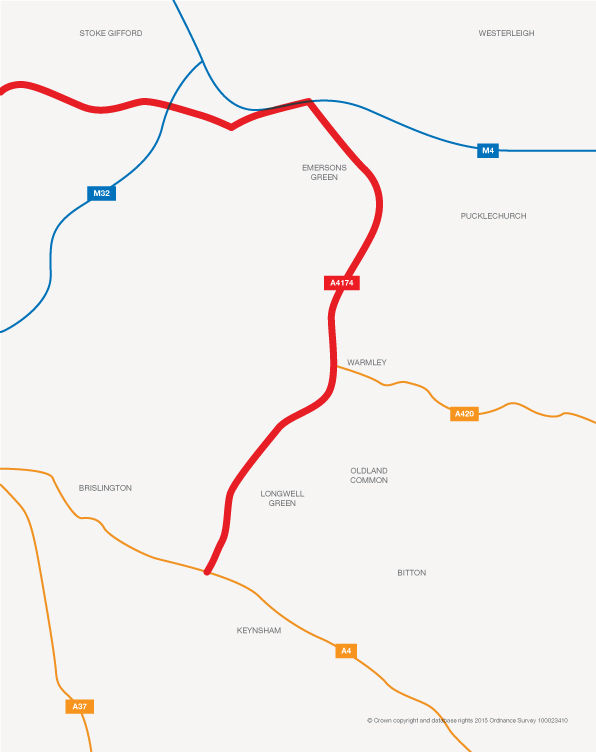 A map showing Challenge Fund A4174 major maintenance and enhancements