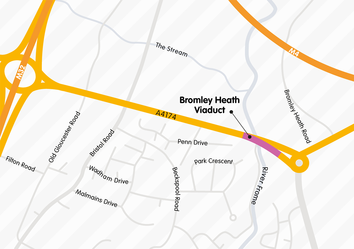 The location of Bromley Heath viaduct
