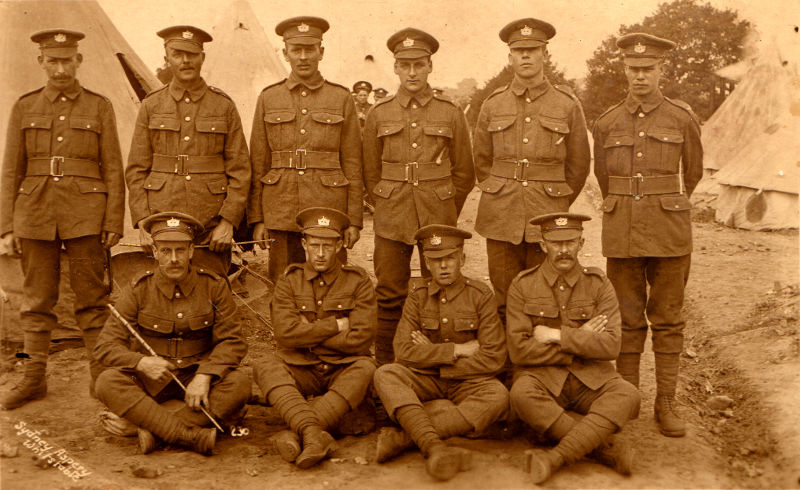 Gloucesters in camp. Bill is the first solider in the back row. (acknowledgement Margaret Faithfull of Horton - Grandaughter)