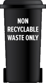 Black bin for non recyclable waste only
