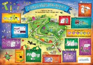 A fantastical map from Coniston Primary School to Patchway Library