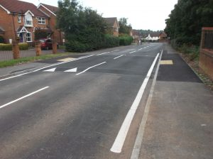 After: The new priority kerb build out south of Lacock Drive