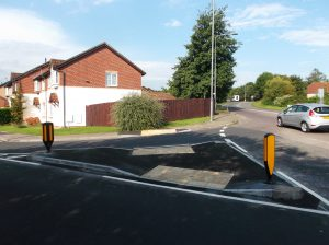 After: The widened pedestrian refuge at Craven Way and Tower Lane