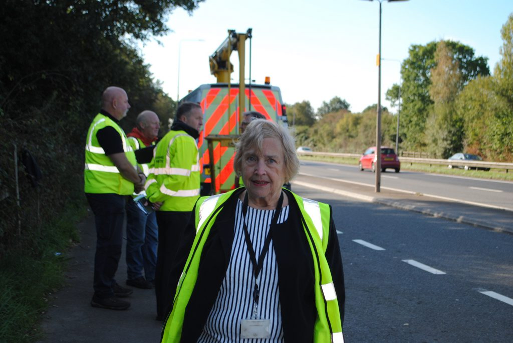 Cllr Heather Goddard photographed on the A4174 ring road during the operation