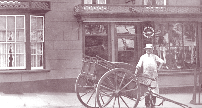 Frank Symes outside shop with cart - Thornbury Museum