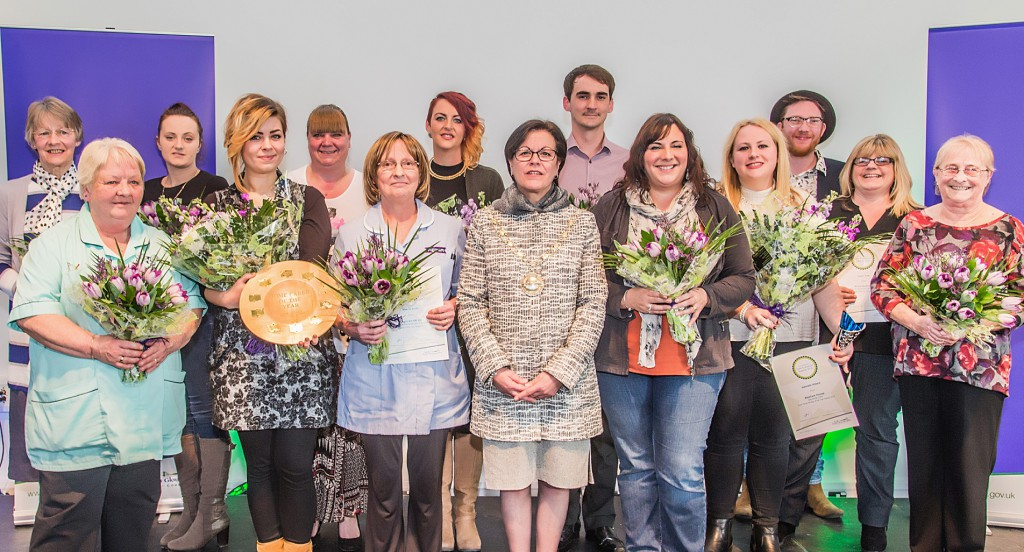 Cllr Erica Williams with the award winners and shortlisted workers.