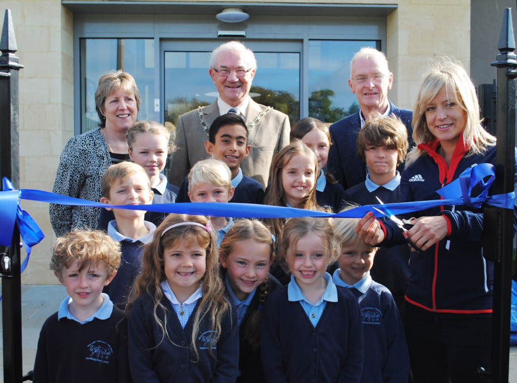 Pictured from left to right are headteacher Jo Dent, Cllr Howard Gawler, Cllr Ian Blair, Jenny Jones and some of the school's pupils.