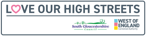 Love our High Streets logo with South Gloucestershire Council and West of England Combined Authority logos