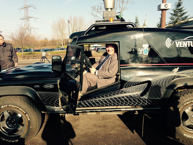 Council Leader Matthew Riddle with the test vehicle at UWE, South Gloucestershire