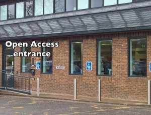 Open Access entrance to library