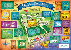 A fantastical map from Park Primary School to Kingswood Library