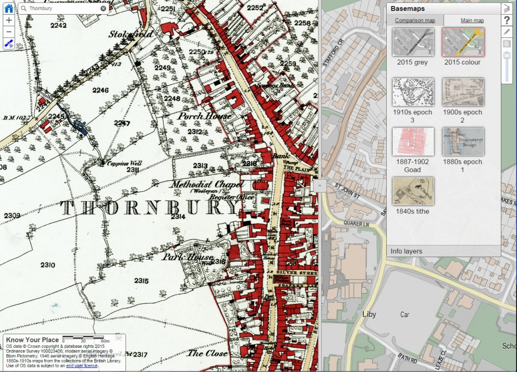 S.Glos KYP depicting Thornbury 1880s and modern map
