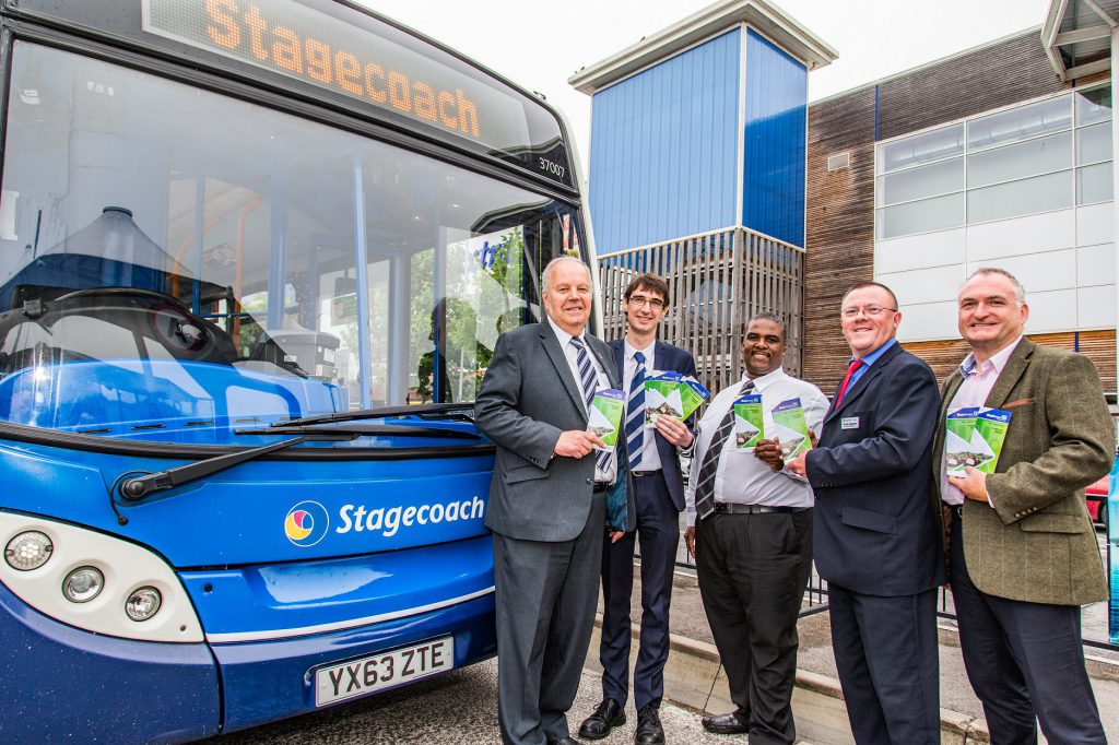 Cllr Colin Hunt, James O'Neil - Commercial Manager at Stagecoach, Wayne Johnson - South Gloucestershire Council's Public Transport Manager, Peter Sheldon - Engineering Director at Stagecoach, Mark King - South Gloucestershire Council's Head of StreetCare and Transport and one of the new buses.