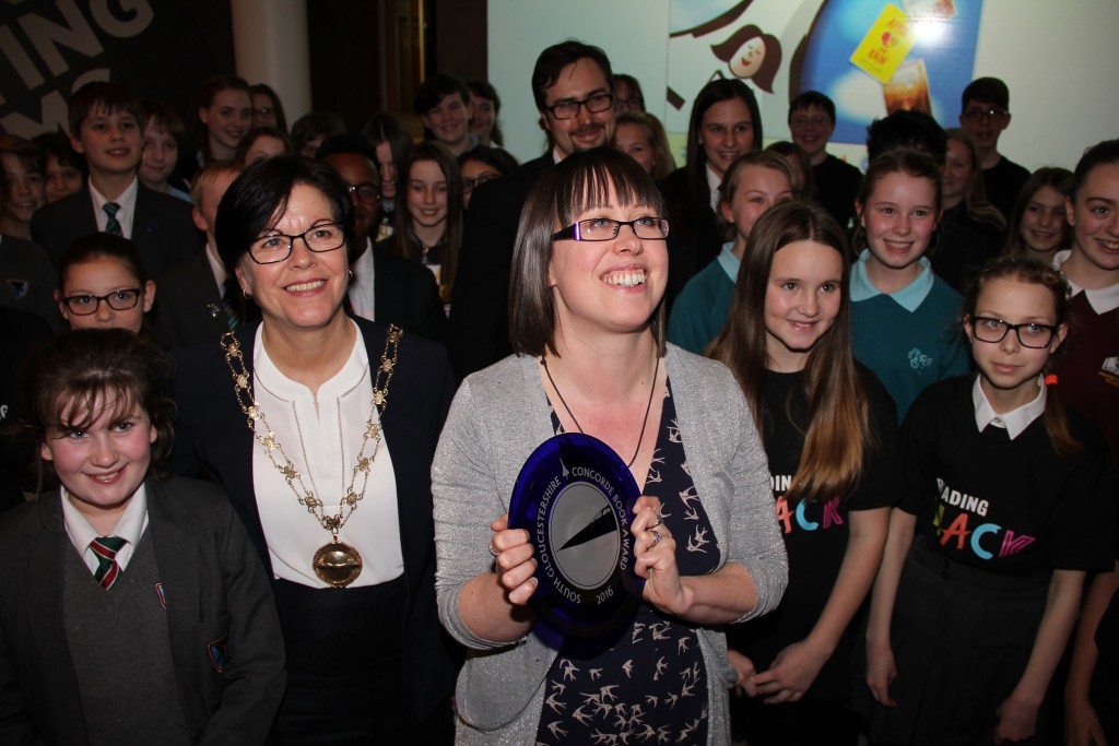 Cllr Williams, winner Emma Pass and some of the young people who took part.