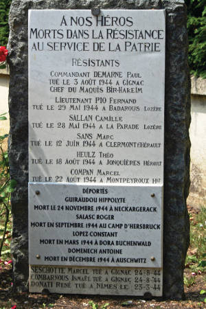 Names on the Clermont L'Herault war memorial